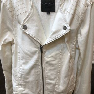 Sanctuary cream denim Moto jean jacket